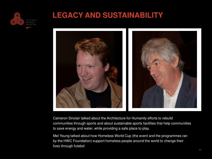 LEGACY AND SUSTAINABILITY