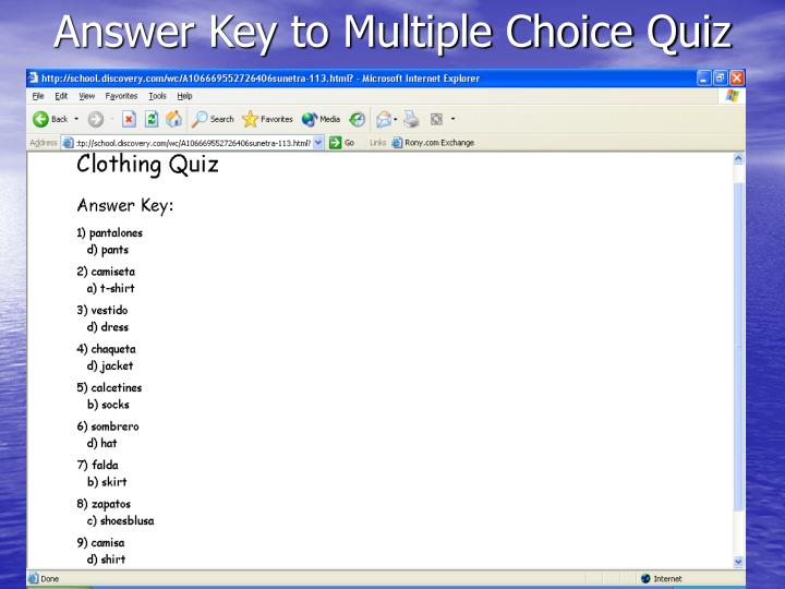 Answer Key to Multiple Choice Quiz