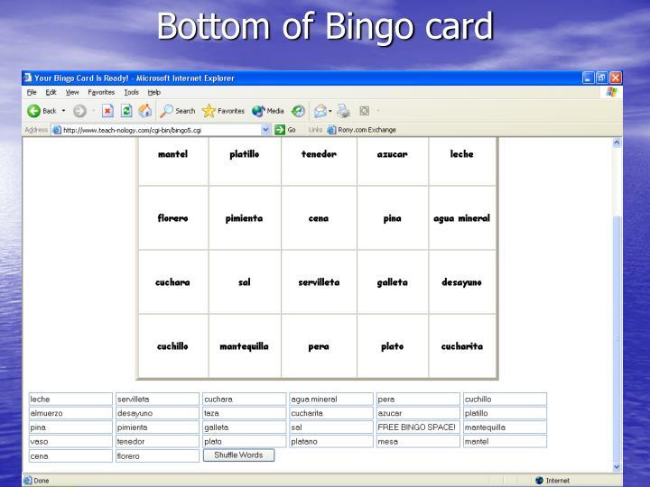 Bottom of Bingo card