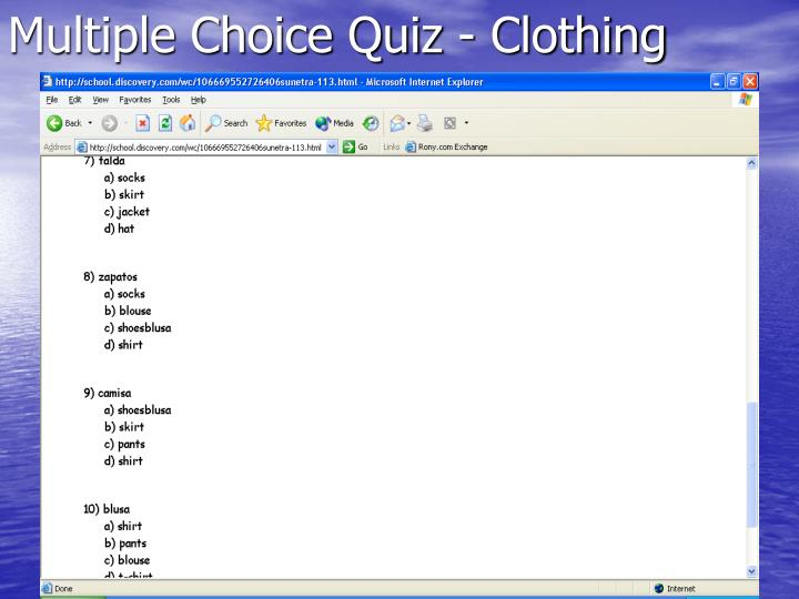 Multiple Choice Quiz - Clothing