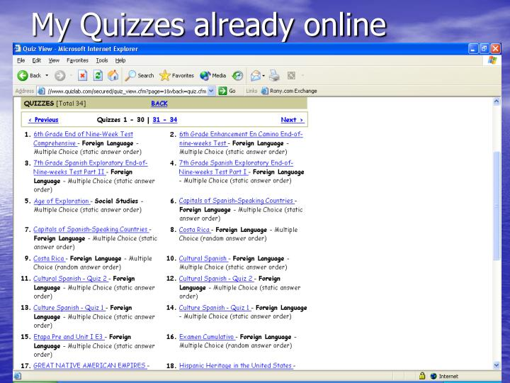 My Quizzes already online