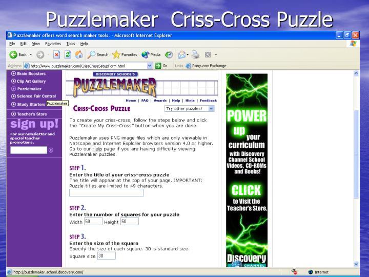 Puzzlemaker  Criss-Cross Puzzle