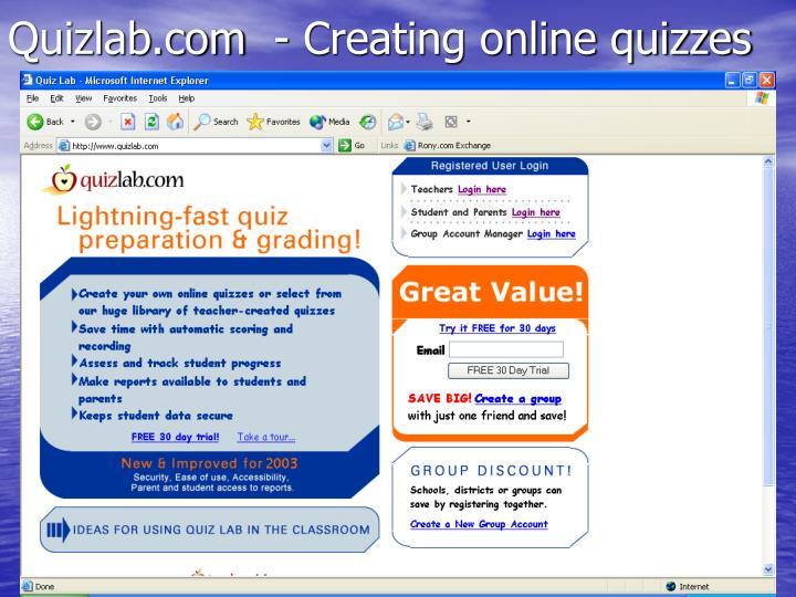 Quizlab.com  - Creating online quizzes