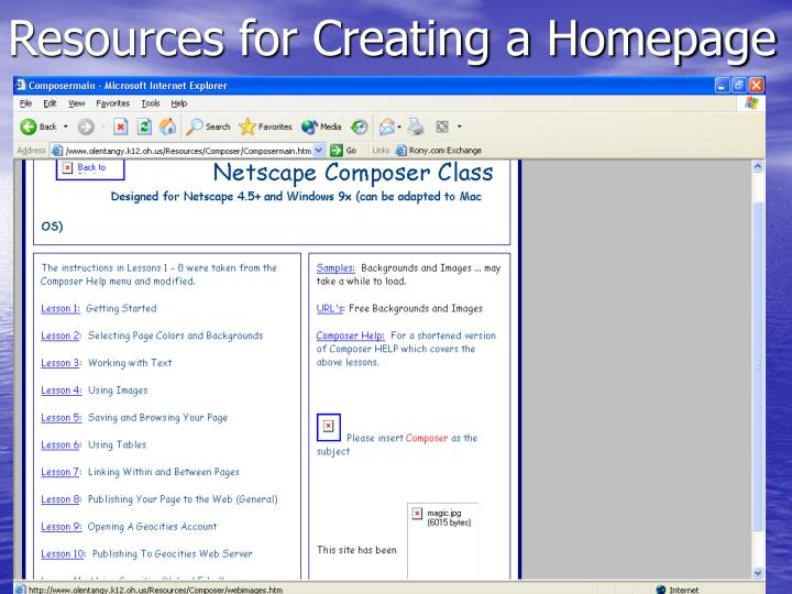Resources for Creating a Homepage