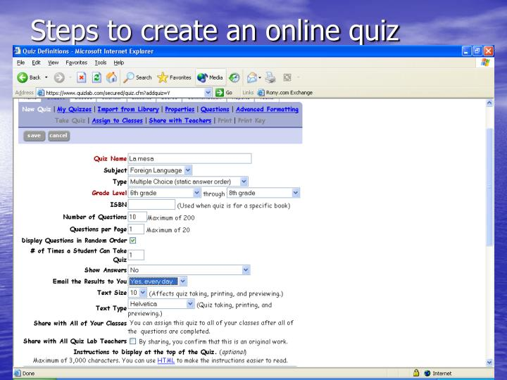 Steps to create an online quiz