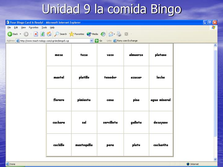 Unidad 9 la comida Bingo