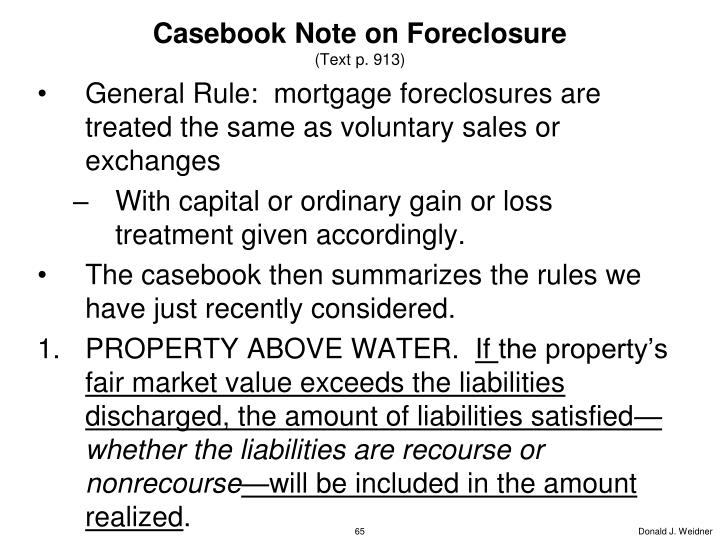 Casebook Note on Foreclosure