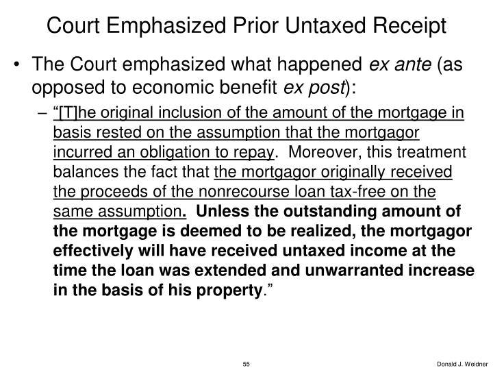 Court Emphasized Prior Untaxed Receipt