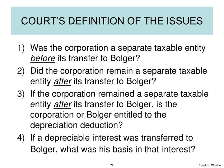 COURT'S DEFINITION OF THE ISSUES