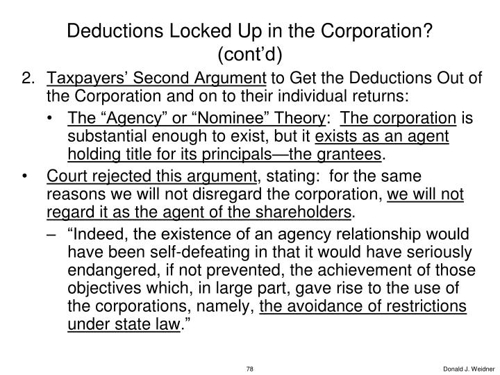 Deductions Locked Up in the Corporation? (cont'd)