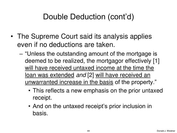 Double Deduction (cont'd)