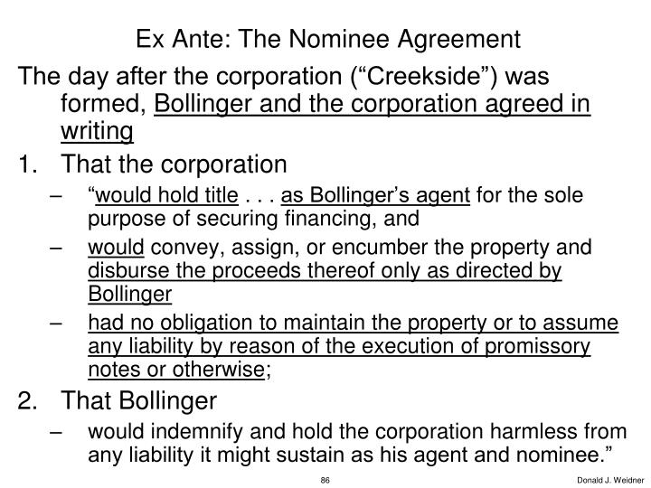 Ex Ante: The Nominee Agreement