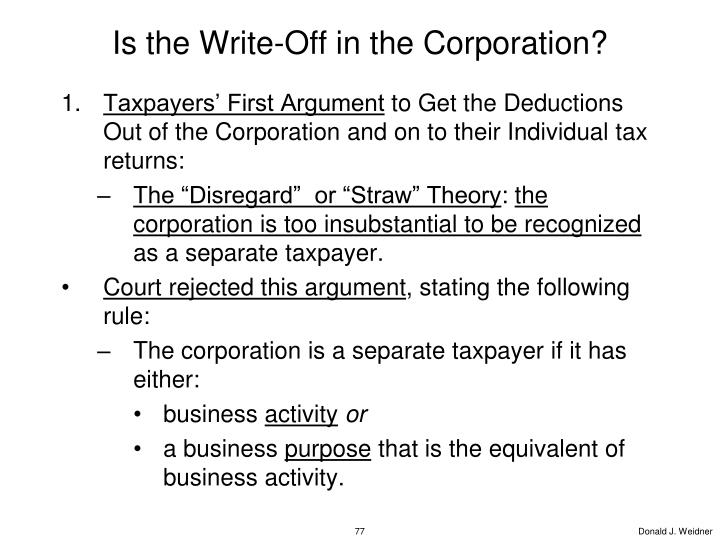 Is the Write-Off in the Corporation?