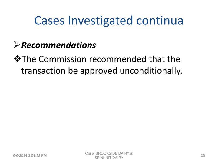 Cases Investigated continua