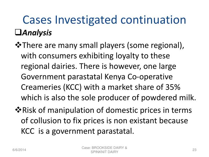 Cases Investigated continuation