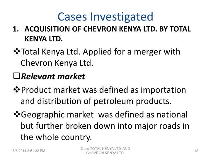 Cases Investigated