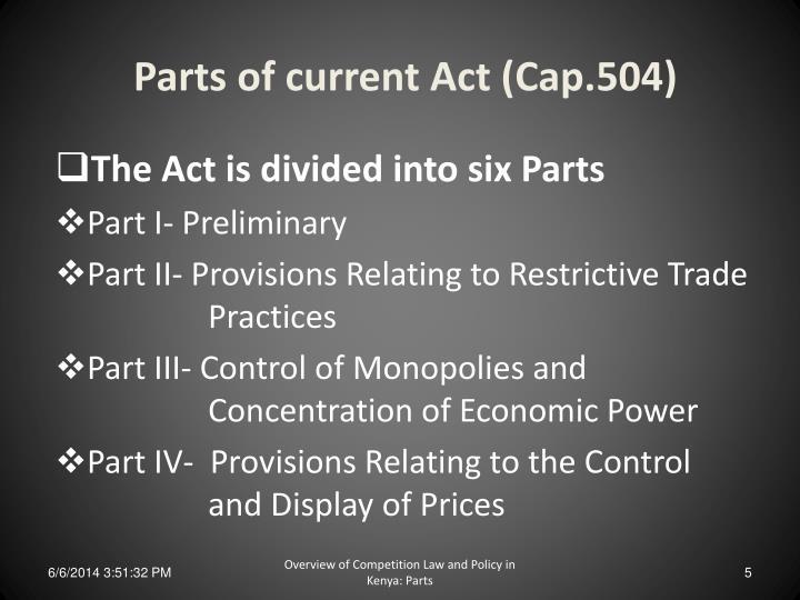 Parts of current Act (Cap.504)