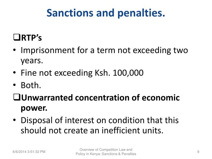 Sanctions and penalties.