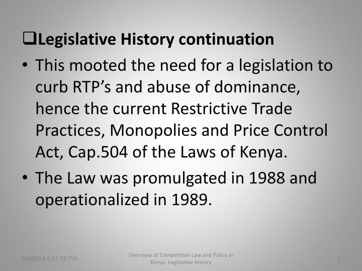 Legislative History continuation