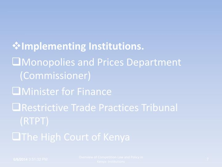 Implementing Institutions.