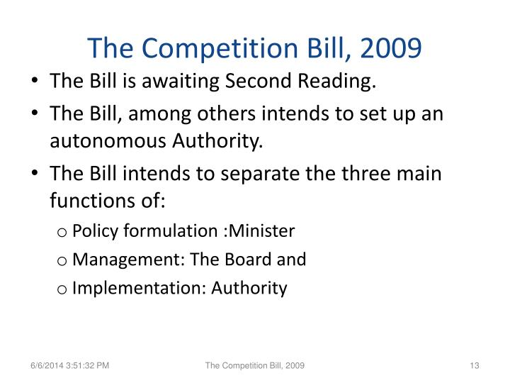 The Competition Bill, 2009