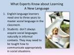 what experts know about learning a new language