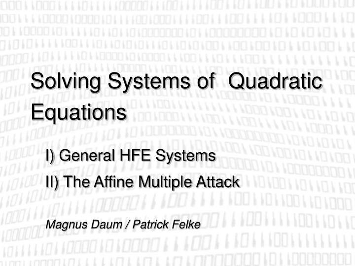 solving systems of quadratic equations n.