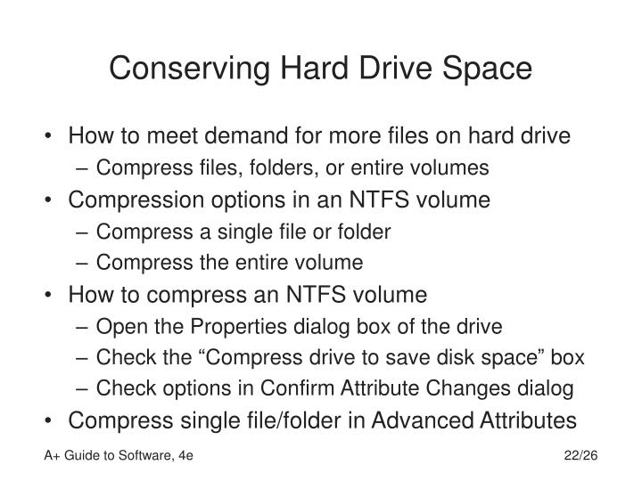 Conserving Hard Drive Space