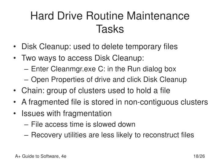 Hard Drive Routine Maintenance Tasks