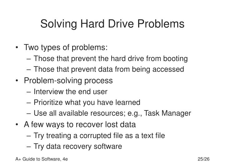 Solving Hard Drive Problems