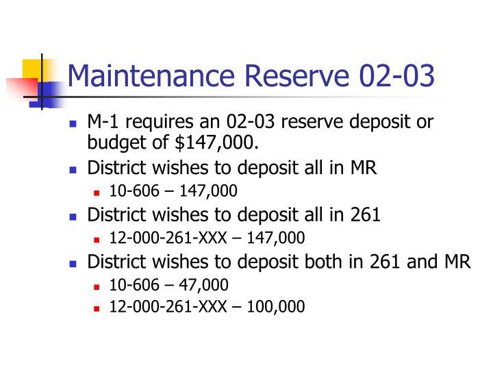 Maintenance Reserve 02-03
