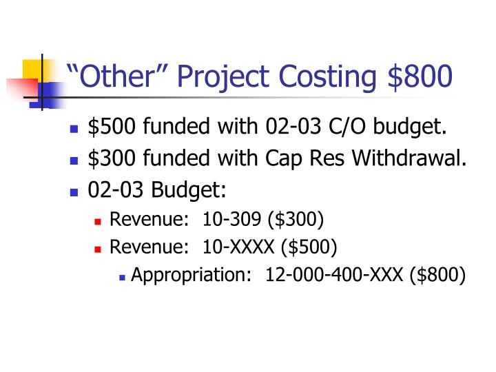 """""""Other"""" Project Costing $800"""