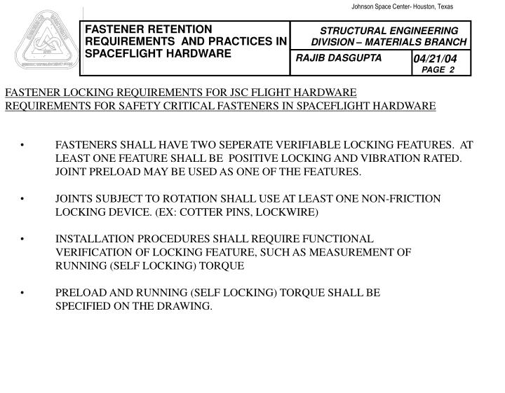 FASTENER LOCKING REQUIREMENTS FOR JSC FLIGHT HARDWARE