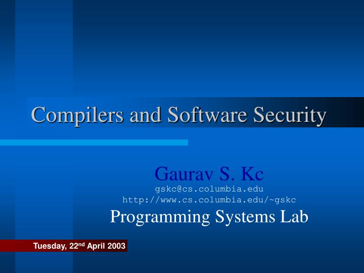 compilers and software security n.