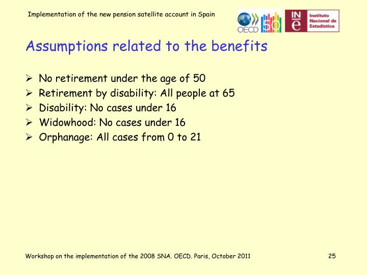 Assumptions related to the benefits