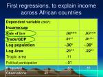 first regressions to explain income across african countries
