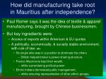 how did manufacturing take root in mauritius after independence