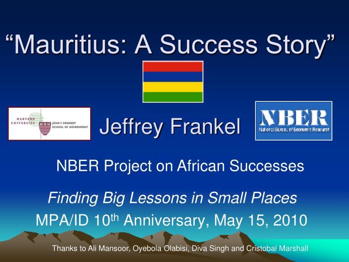 mauritius a success story jeffrey frankel n.