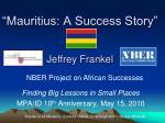mauritius a success story jeffrey frankel