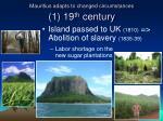 mauritius adapts to changed circumstances 1 19 th century
