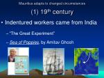 mauritius adapts to changed circumstances 1 19 th century1