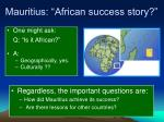 mauritius african success story