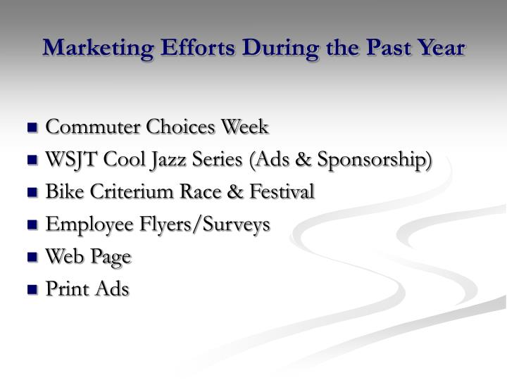 Marketing Efforts During the Past Year