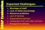 expected challenges