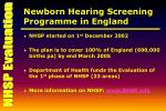 newborn hearing screening programme in england