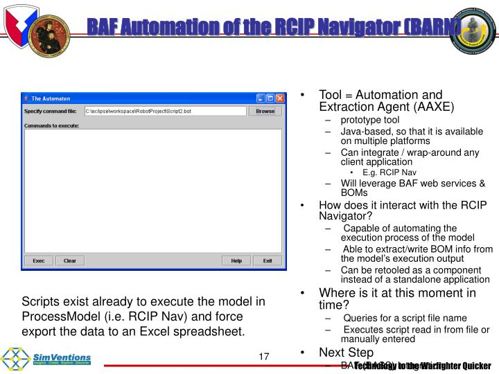 BAF Automation of the RCIP Navigator (BARN)