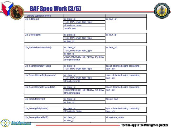 BAF Spec Work (3/6)