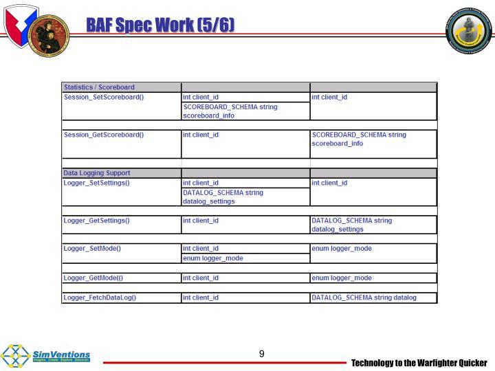 BAF Spec Work (5/6)