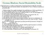 crowne marlowe social desirability scale