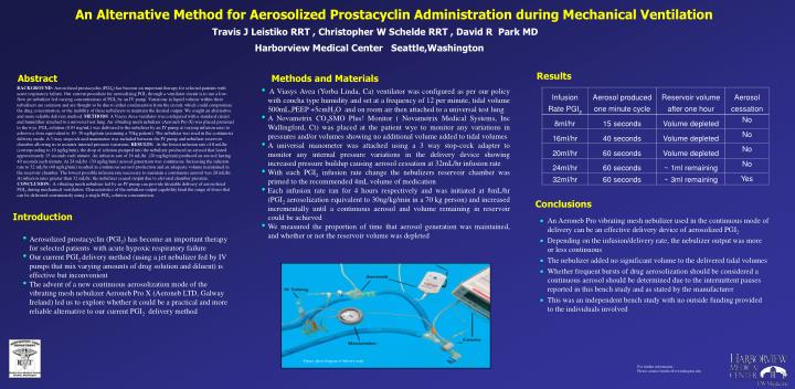 an alternative method for aerosolized prostacyclin administration during mechanical ventilation n.